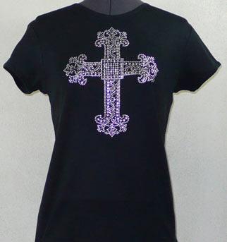 Crystal & Rhinestud Cross shirt