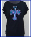 Rhinestone Cross shirt crystall and turqoise