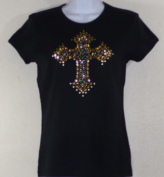 Gold & Multi color Rhinestud and Rhinestone Cross