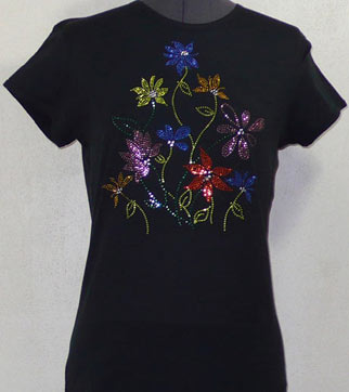 flowers Rhinestone Shirt
