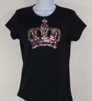 Gold and Clear Crown Rhinestone and Rhinestud Shirt