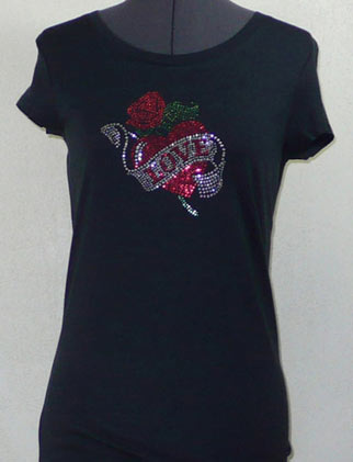 Heart with love Rhinestone Shirt