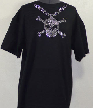 Chain with Skull Rhinestone Shirt sm