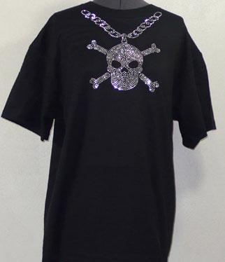 Mens Chain with Skull Rhinestone Shirt sm