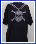 Mens Chain with Skull Rhinestone Shirt lg