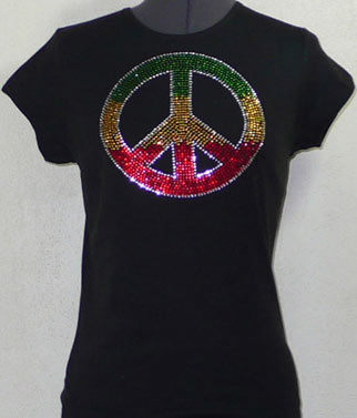 Peace Rhinestone Shirt three colors