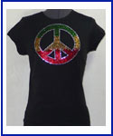 Peace Rhinestone Shirt three colors