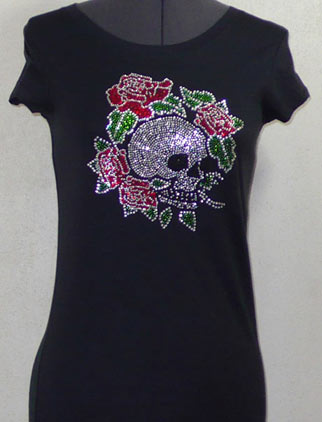 Skull with Roses Rhinestone Shirt