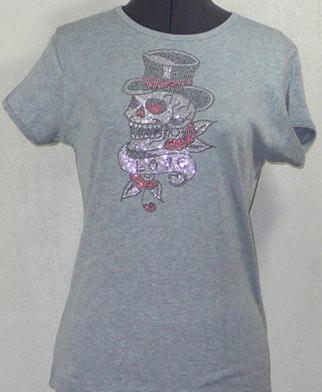 Skull Top Hat Love Rhinestone Shirt