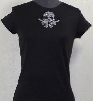 Small Skull with Guns Rhinestone Shirt