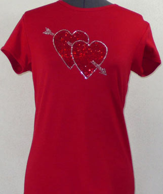 Two Hearts and Arrow Rhinestone Shirt