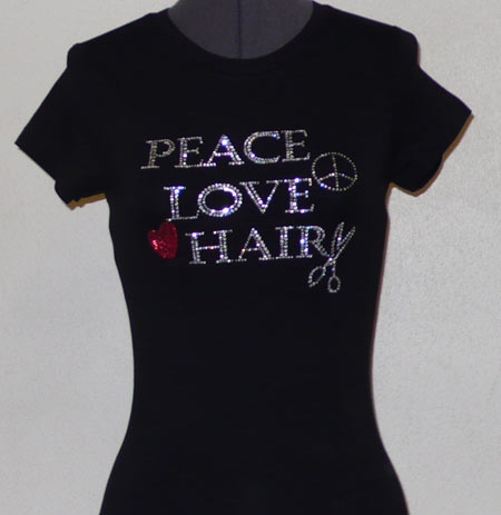 Peace Love Hair Rhinestone Shirt