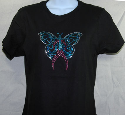 Butterfly Pink Ribbon Rhinestone Shirt