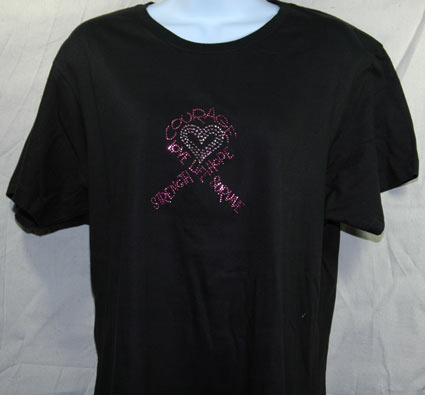 Courage, Faith  Pink Ribbon Rhinestone Shirt