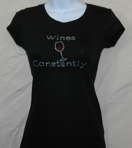 Wine Constantly Rhinestone Shirt