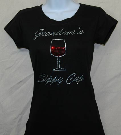 Grandma's Sippy Cup with wine glass Rhinestone Shirt