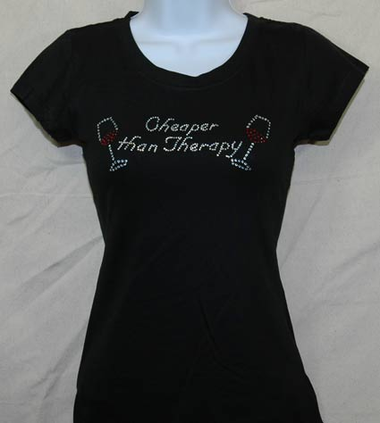 Cheaper than Therapy Rhinestone Shirt