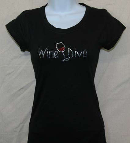 Wine Diva with wine glass Rhinestone Shirt