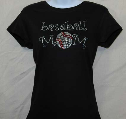 Baseball Mom Curly Rhinestone Shirt